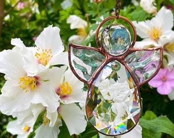 August Birthday Angel, Peridot Birthstone Guardian Angel, Stained Glass Suncatcher, Virgo Gift