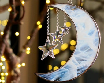 Moon and Stars Sun Catcher, Stained Glass Crescent Moon with Swarovski Crystal Stars, Crystal Suncatcher, Deep Peace Irish Blessing