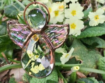 Crystal Angel Suncatcher, Stained Glass Angel, Crystal Suncatcher, Spring Summer Angel, Chakra Angel, Citrine Birthstone