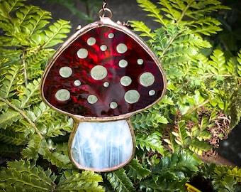 Stained Glass Mushroom, Magic Mushroom, Fairy Toadstool, Mushroom Sun Catcher, Forager Gift