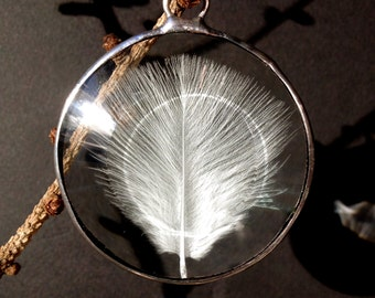 Mini Angel Feather in Hand Polished Bevelled Glass Sun Catcher.