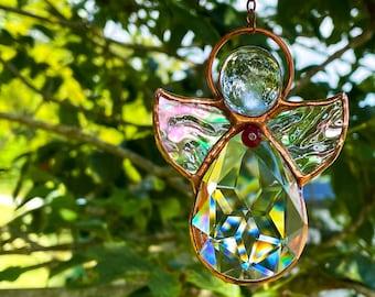 July Birthday angel Suncatcher, Ruby Birthstone, Stained Glass Angel, Cancer Star Sign Gift