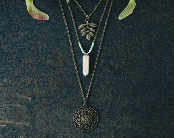 Gem necklace, boho necklace, layered necklace, hippie necklace, gemstone necklace, boho jewelry, crystal necklace, mandala necklace, for her
