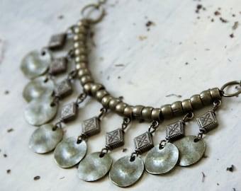 Boho necklace, coin necklace, gold necklace, boho jewelry, tribal necklace, bohemian necklace, hippie jewelry, bohemian jewelry, gift women