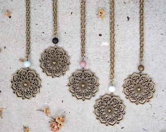ON SALE Boho necklace with mandala pendant and natural gemstone, cool boho jewelry as girlfriend gift, for a friend, sister or friendship
