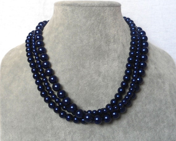 glass pearls necklaces,wedding pearl necklace,bridesmaids necklace navy pearl necklace,2 strands pearl necklaces, pearl necklace