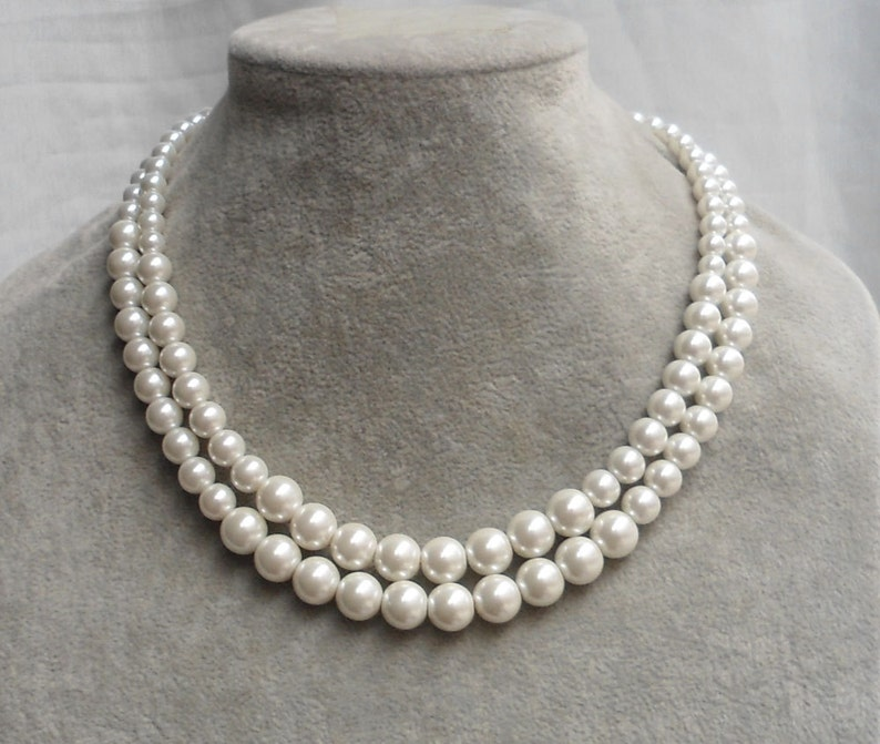 ffa58cb6d88fa Pearl Necklace, Ivory Pearl Necklace ,Glass Pearl Necklace,2 Strands Pearl  Necklace,Wedding Jewelry,Bridesmaid necklace,Wedding necklace