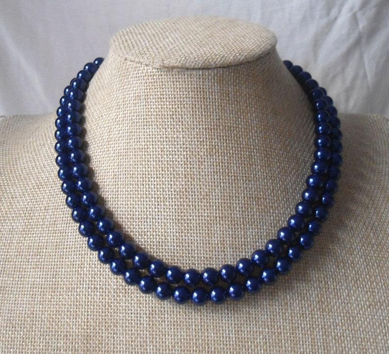f8c3a41ca Navy Blue pearl Necklaces Wedding necklacepearl Necklace 2 image 0 ...