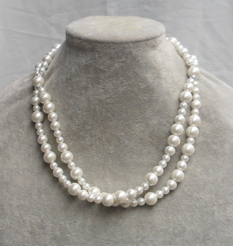 f4b7fceeaeb46 Ivory Pearl Necklace,Wedding necklace,Glass Pearl Necklace,2 strands Pearl  Necklace,Wedding Jewelry,Bridesmaid necklace,Ivory pearl necklace