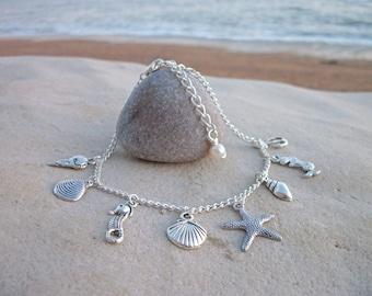 Beach nautical shell sea theme anklet ⁓ summer beach accessory.