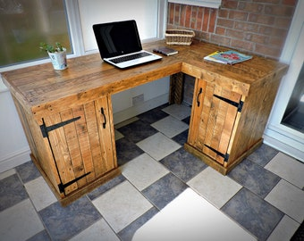 More Colours. Office Corner Wood Desk, Recycled Pallet ...