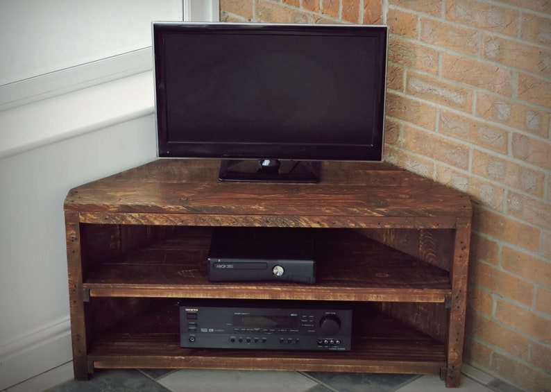 on sale 6b1db 9cad4 Corner TV Unit, Recycled pallet, Rustic Style, Handmade, Solid Wooden TV  Stand, Bespoke available
