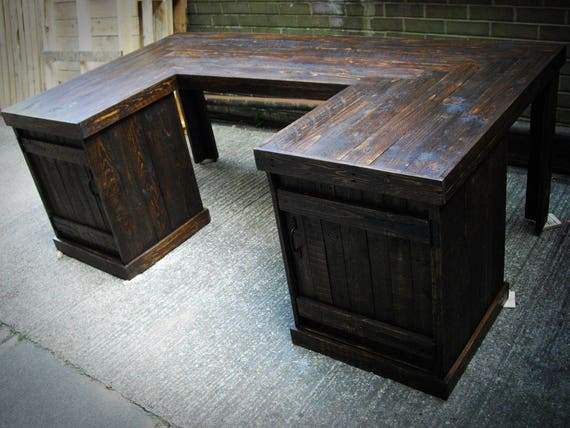 Reclaimed Pallet Wood U Shaped Office Desk With Doors Shabby