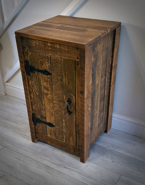 Wooden Rustic Reclaimed Wood Side Table Handmade Storage Solid