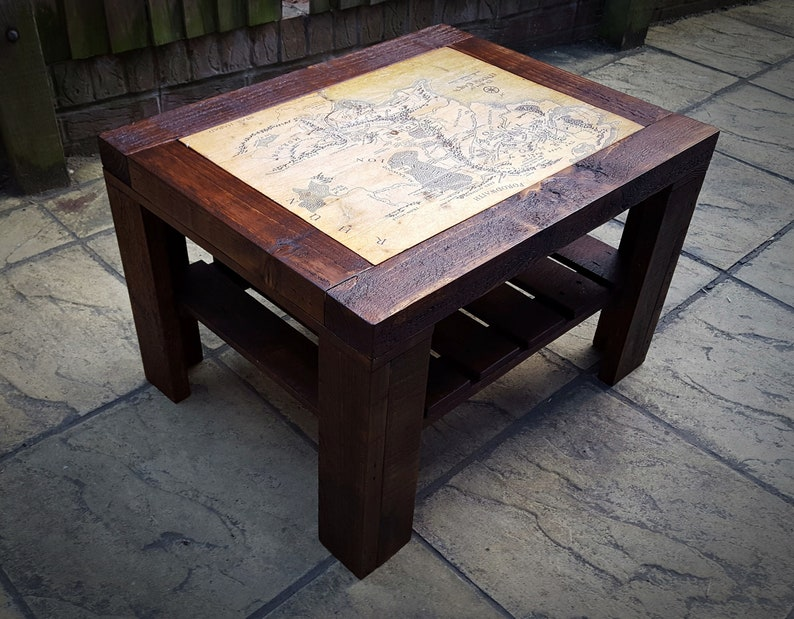 Wondrous Coffee Table With World Map Can Order It With Different Map Or Picture Chunky Legs Rustic Style Recycled Wood Handmade Home Remodeling Inspirations Propsscottssportslandcom