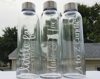 Logo Etched Glass Water Bottle | Etched Glass Bottle | Etched Water Bottle | Custom Logo Bottle
