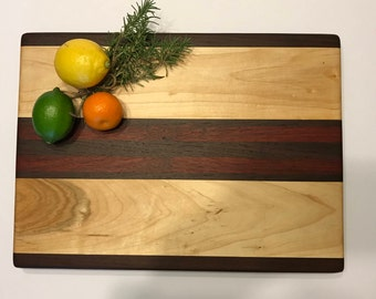 Thick cutting board handcrafted with walnut maple and padauk #842
