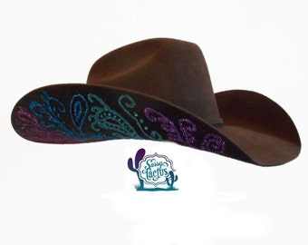 789f353936e Paisley Bling Hand Painted Felt Cowboy Hat - Special Order