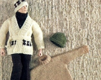 KNITTING PATTERN / Action Man / Sweater / Cardigan / Trousers / Hat / Ken Doll / Barbie Doll / Dolls Clothes / Instant PDF Digital Download