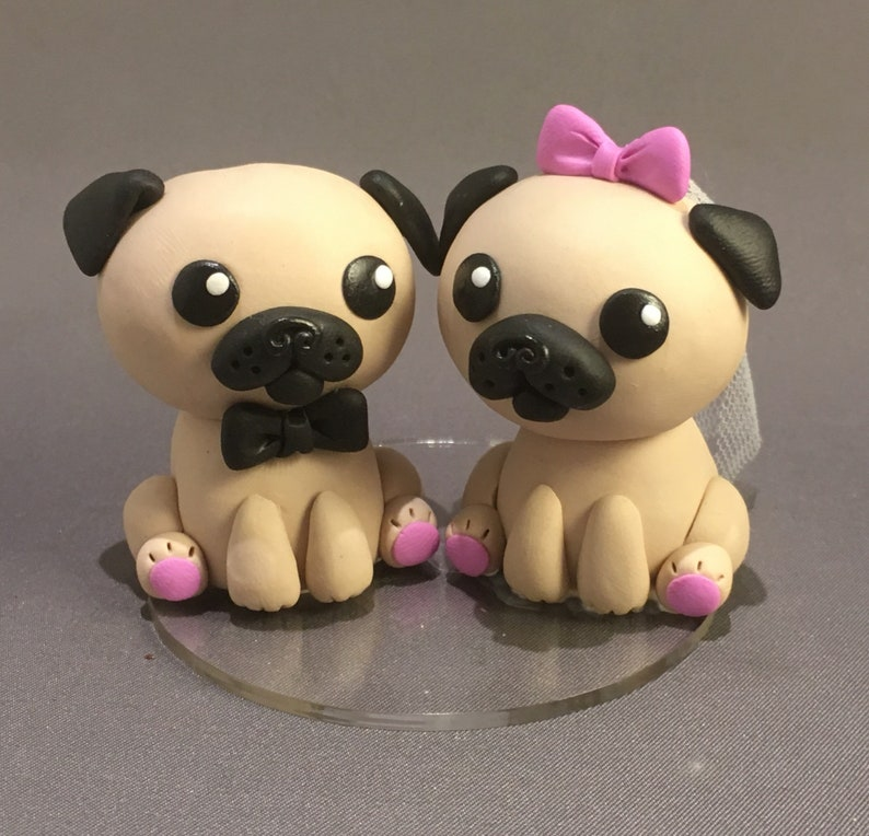 Pug Wedding Cake Topper Pug Bride And Groom Cake Figurine Wedding Cake Figures Dog Cake Topper
