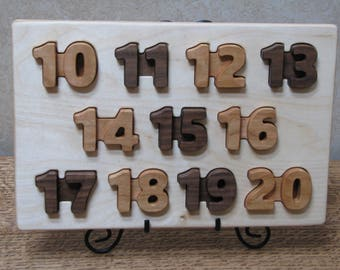 Number Puzzle 3 - wooden, 10 through 20