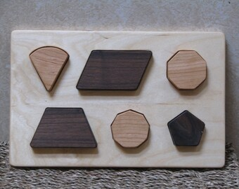 Developmental Shape Puzzle #4, wooden, easy for little hands to grip and learn.