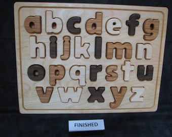 ABC lowercase - block, wooden puzzle - easy for little hands to hold