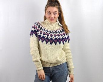 Vintage Nordic Icelandic Chunky Patterned Wool Jumper