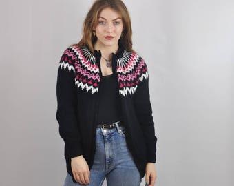 Vintage Nordic Icelandic Oversize Patterned Wool Cardigan