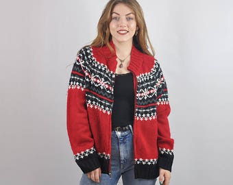 Vintage Nordic Icelandic Oversize Patterned Cardigan