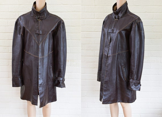 Vintage 1980's Dark Brown Unisex Leather Trench Co