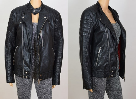 Vintage 90s Topshop Black Leather Motorcycle Biker
