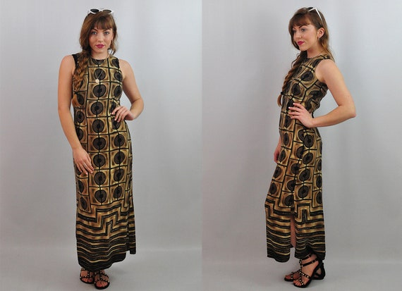 Vintage 90s Slip Dress Aztec Print Maxi Sheath Dre