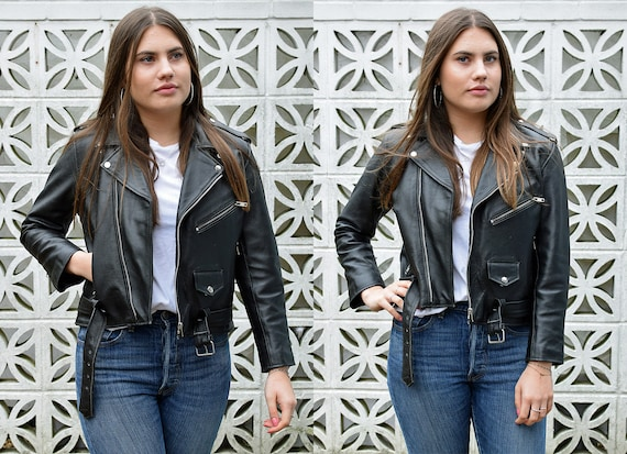 Vintage 90's Cropped Black Leather Biker Jacket