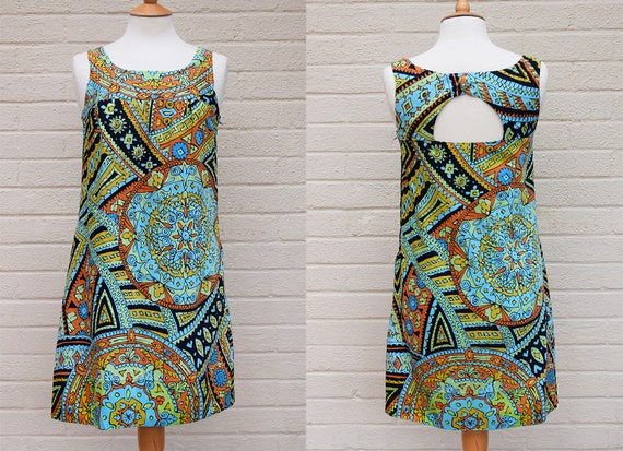 Vintage 1960's Dolly Rockers Mini Dress in Abstrac