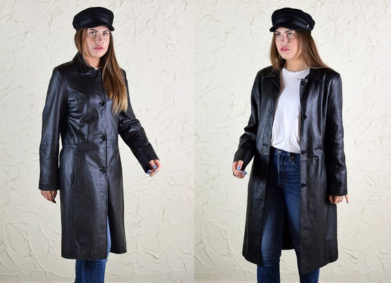 Vintage 90's Buffy Style Black Leather Trench Coat