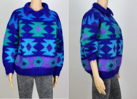 Vintage 1980's Mohair Wool Multicoloured Knit Jump