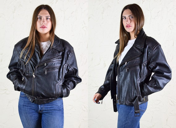 Premium Vintage Black Leather Biker Jacket
