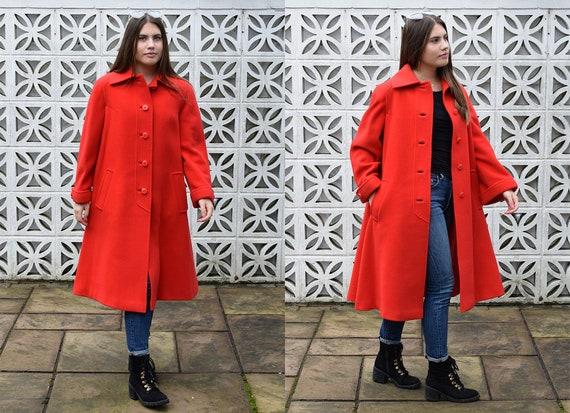 Vintage 1980s Red Wool Midi Coat
