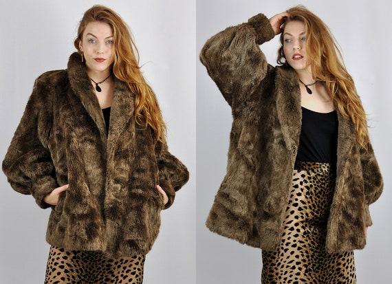 67657bc8ab5 Premium Vintage  80s Brown Faux Fur Jacket