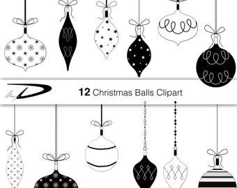 12 Christmas Balls Clip Art Black And White Clipart Decoration