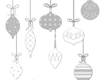 12 Silver Glitter Christmas Balls Clip Art Sparkly Clipart 13 Decoration