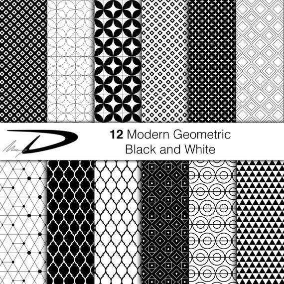 12 Black White Modern Digital Paper Geometric Pattern Etsy
