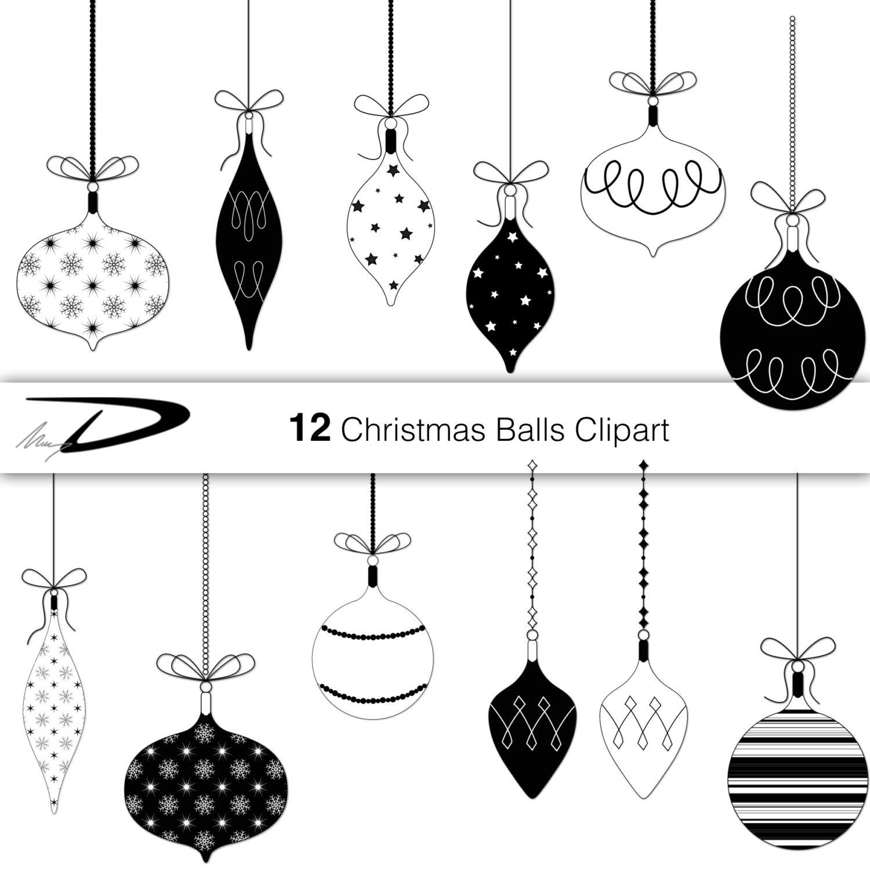 12 Christmas Balls Clip Art black and white christmas   Etsy