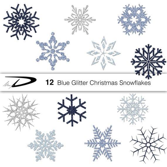 Christmas Snowflakes.Christmas Blue Glitter Snowflakes Blue And Silver Snowflakes Printable Clip Art Snowflake Digital Download Png Christmas Blue Clipart