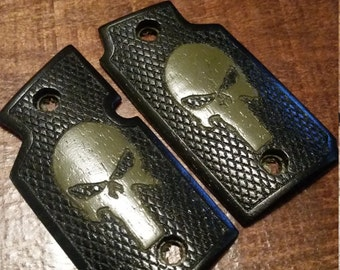 Walnut Wood Grips, Stained Black with Olive Drab Skull - Will fit Sig Sauer P938