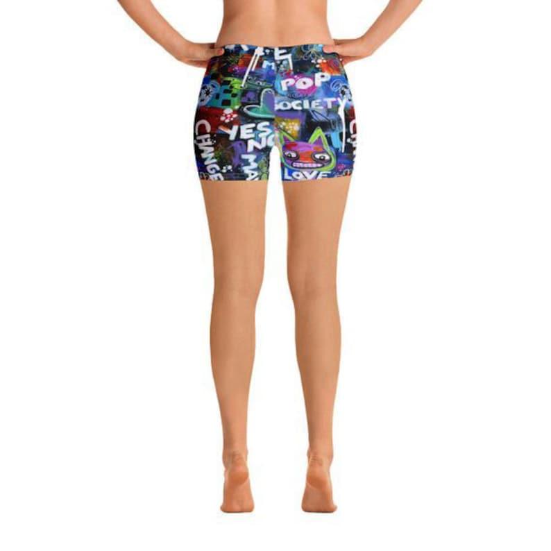 Graffiti Shorts Hot Pants Athletic Shorts Yoga Shorts Colorful Shorts Running Shorts Gym Shorts Workout Short Graphic Shorts