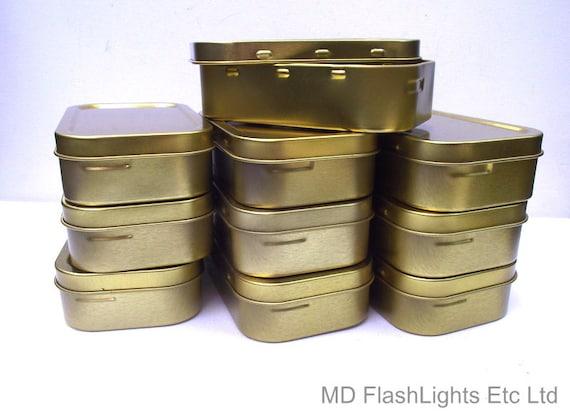 5 x Silver Hinged Tobacco//Survival//Storage Tin