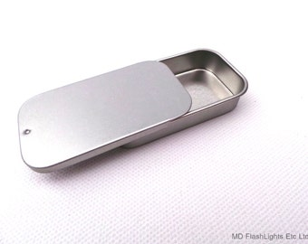 Silver Micro Blank Slide Top Lid Storage Tin , Tablets, Coins, Confectionary
