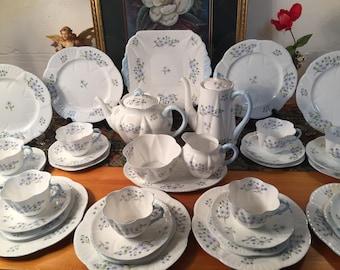 Shelley Dainty blue rock tea set for eight. 32 pieces.